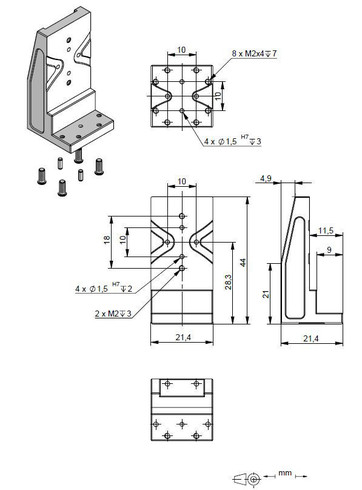 Adapter bracket Q-122.10U, dimensions in mm