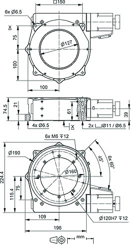 PRS-200 precision rotation stage, dimensions in mm