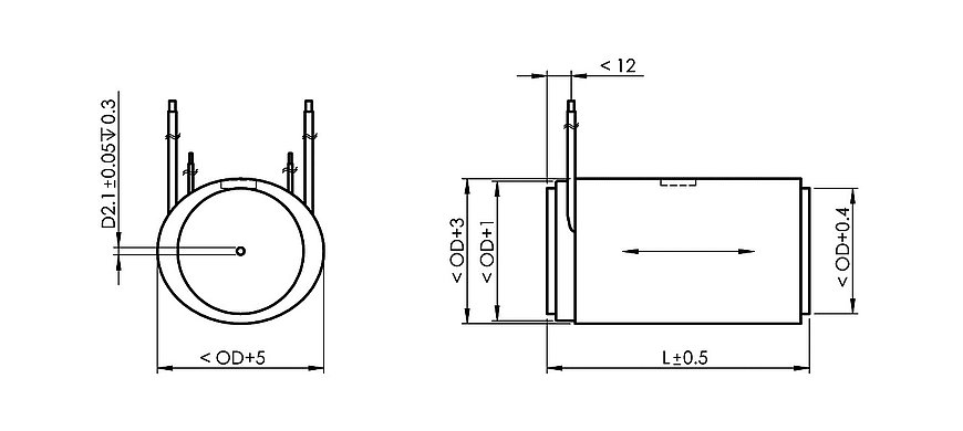 PI P-010.xxP Drawing, PICA Power, dimensions in mm. L, OD see data table.