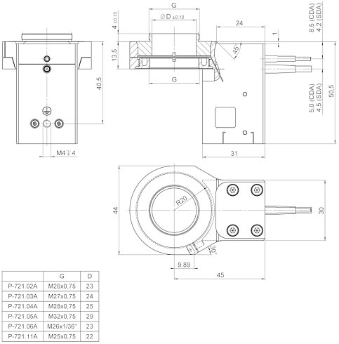 P-721.xxA, P-721.xDA, dimensions in mm (please order adapter set separately)