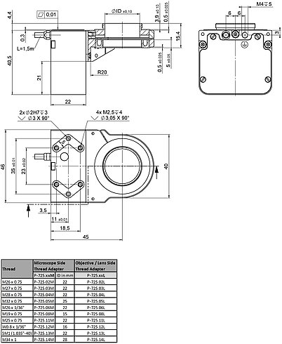 P-725.1CDE2, dimensions in mm (please order adapters separately)