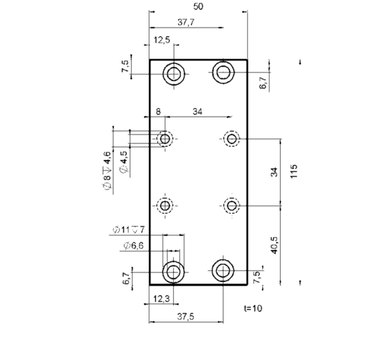 PI M-126.80 Adapter Plate Drawing