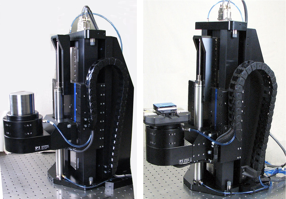 Left: Z-Theta motion system: Vertical linear air bearing stage which with rotary air bearing stage (shown with dummy mass). The axis of rotation is parallel to the Z axis. The linear stage is equipped with a direct-drive linear motor and includes a pneumatic counterbalance. Right: Z-Theta motion system with optional XY stage to position the sample relative to the axis of rotation. The ultra-light Q-545-based XY stage is driven by piezo motors and provides nanometer resolution. Its absolute encoders allow for lossless position signal transmission through the slip rings.