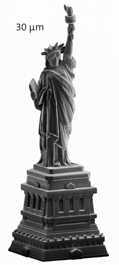 A miniature Statue of Liberty produced with laser lithography (Image: Nanoscribe)